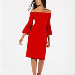 Vince Camuto Dress. Strapless with Bell Sleeves
